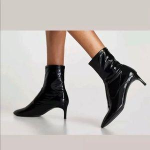 Zara black patent stiletto heel ankle boots 8
